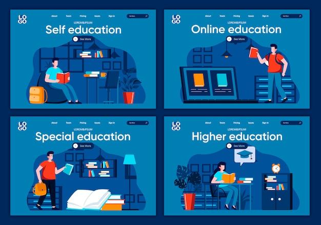Conjunto de páginas de aterrissagem plana de educação on-line. programa de ensino a distância na universidade, os alunos estudam cenas no site ou na página cms. auto-educação, ilustração de graduação especial e superior.