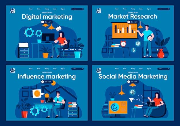 Conjunto de páginas de aterrissagem plana de marketing de mídia social. análise e planejamento estratégico de cenas publicitárias para site ou página cms. pesquisa de mercado, ilustração digital e marketing de influência.