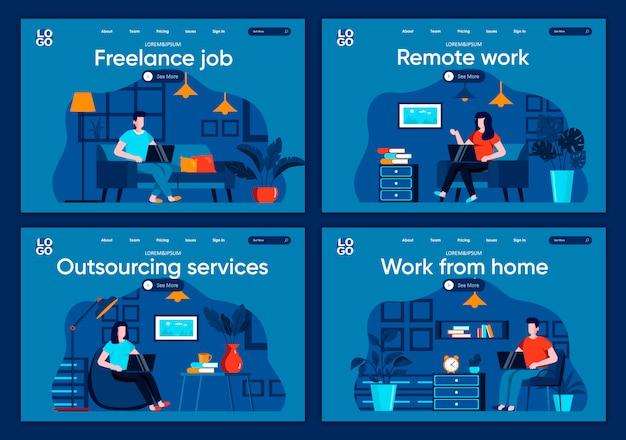 Conjunto de páginas de aterrissagem plana de trabalho remoto. freelancer trabalhando com o laptop em cenas de condições confortáveis para o site ou a página da web do cms. trabalho freelance, serviço de terceirização, trabalho de ilustração em casa.