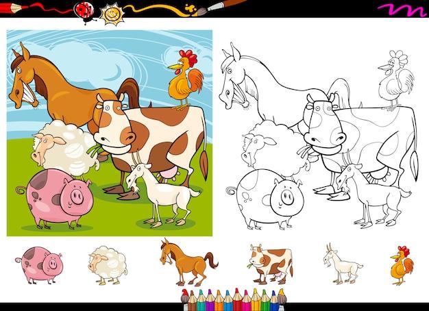 Conjunto de páginas de colorir dos desenhos animados dos animais de fazenda
