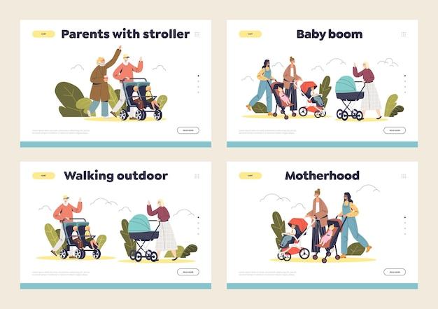 Conjunto de páginas de destino com a feliz mãe, pai e filhos pequenos no carrinho de bebê caminhando no parque.