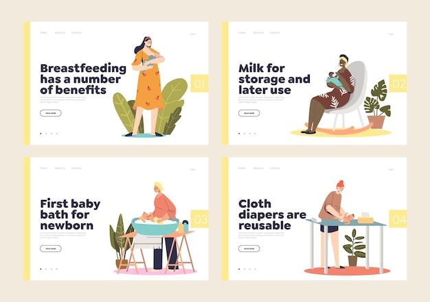 Conjunto de páginas de destino com as atividades da mãe e dos pais para cuidar do bebê recém-nascido