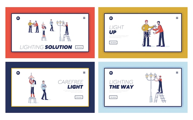 Conjunto de páginas de destino com as pessoas trocam lâmpadas em guirlandas, postes de luz e em casa.