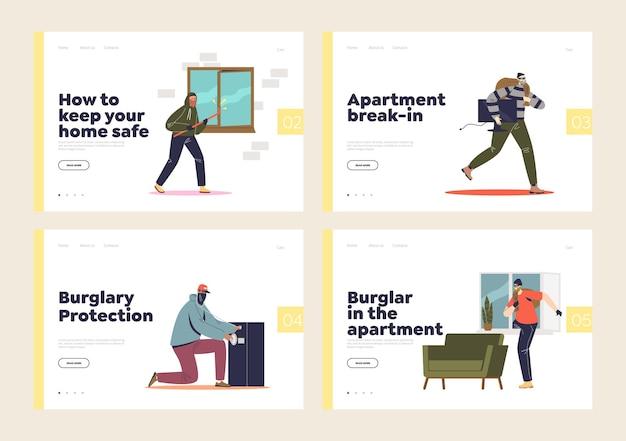 Conjunto de páginas de destino com assaltante residencial, invasão de domicílio, roubo e ladrão em apartamento.