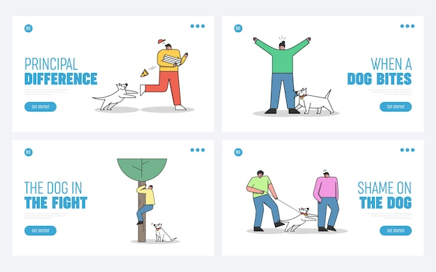 Conjunto de páginas de destino com cães atacando humanos. cães agressivos mordendo e latindo nas pessoas