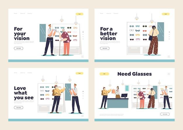 Conjunto de páginas de destino com clientes da loja óptica escolhendo e comprando óculos