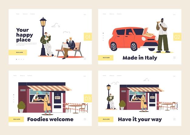 Conjunto de páginas de destino com comida para viagem e conceito de entrega