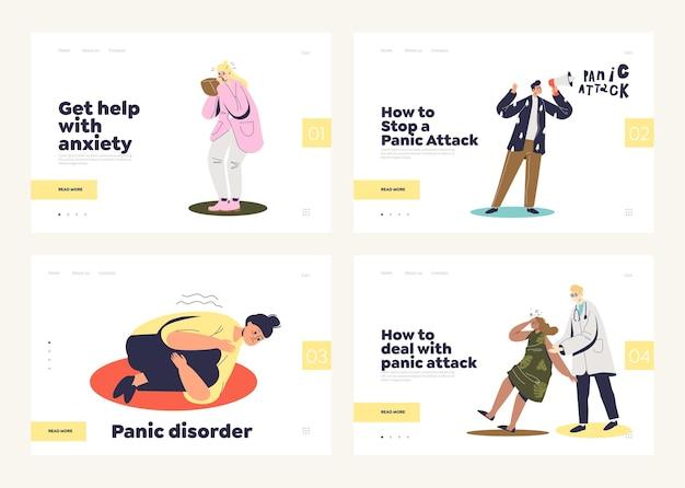 Conjunto de páginas de destino com conceito de ataque de pânico e transtorno mental