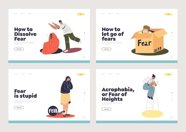 Conjunto de páginas de destino com conceito de medo e personagens de desenhos animados assustados