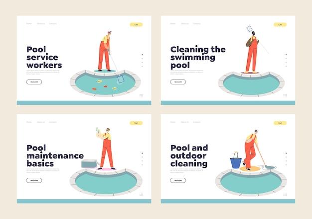 Conjunto de páginas de destino com funcionários de serviços de limpeza, manutenção e reparo de piscinas