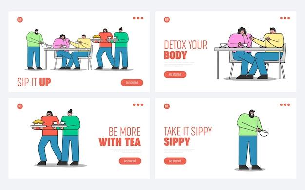 Conjunto de páginas de destino com pessoas bebendo chá. jovens amigos se encontrando para tomar chá ou café