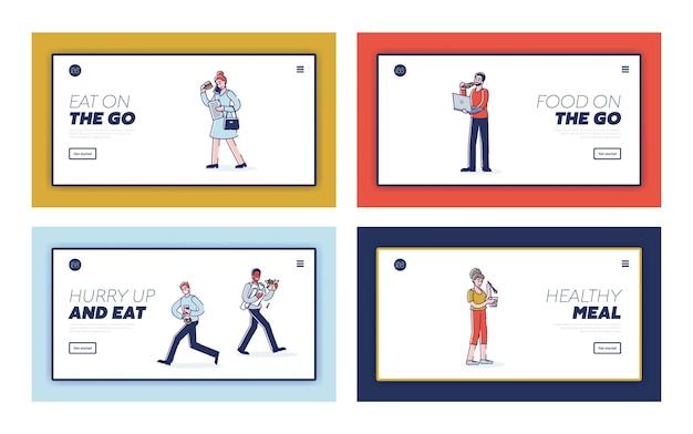 Conjunto de páginas de destino com pessoas comendo em movimento.