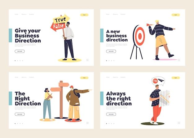 Conjunto de páginas de destino com pessoas tomando decisões e escolhendo direções erradas. personagens de desenhos animados escolhem a direção certa para os negócios.