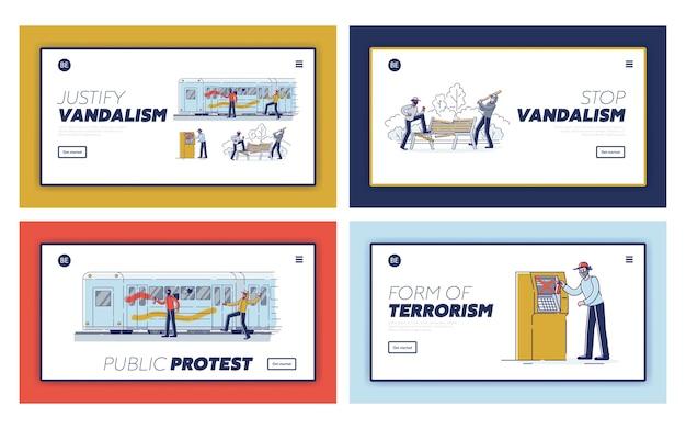 Conjunto de páginas de destino com vândalos danificando propriedades públicas. conceito de vandalismo de rua e hooliganismo