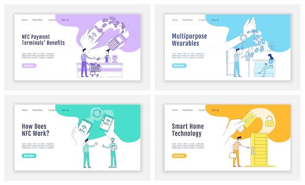 Conjunto de páginas de destino da tecnologia nfc