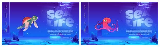 Conjunto de páginas de destino da vida marinha