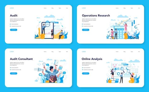 Conjunto de páginas de destino da web de auditoria. pesquisa de operação de negócios