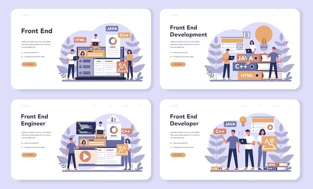 Conjunto de páginas de destino da web de desenvolvimento de front-end. melhoria do design da interface do site. programação e codificação. profissão de ti. ilustração em vetor plana isolada