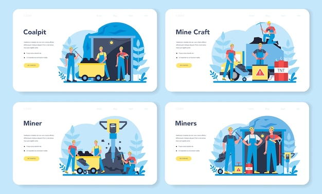 Conjunto de páginas de destino da web de mineração de carvão ou minerais. trabalhador de uniforme e capacete com picareta, britadeira e carrinho de mão trabalhando no subsolo. profissão da indústria extrativa. ilustração vetorial