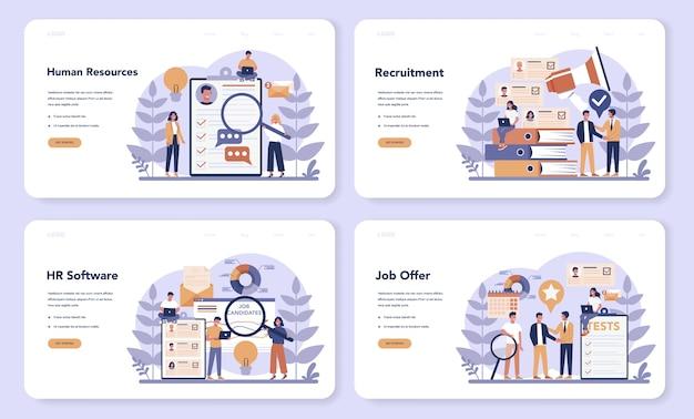 Conjunto de páginas de destino da web de recursos humanos. ideia de recrutamento e gestão de empregos. gestão do trabalho em equipe. ocupação do gerente de rh. ilustração vetorial plana