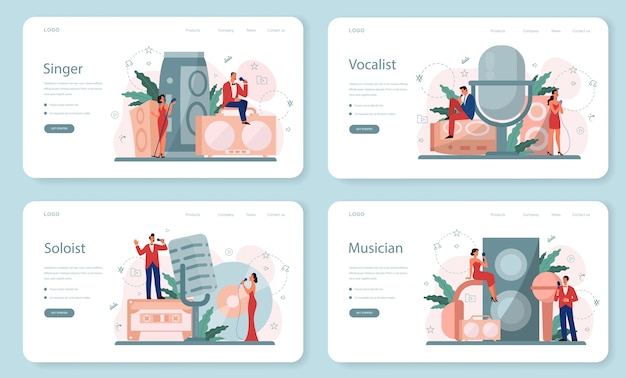 Conjunto de páginas de destino da web do cantor feminino e masculino. artista cantando com microfone. show de música, desempenho de som. ilustração vetorial em estilo simples