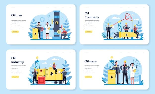 Conjunto de páginas de destino da web oilman e da indústria de petróleo. pump jack extraindo petróleo bruto das entranhas da terra. produção e negócios de petróleo. ilustração em vetor plana isolada