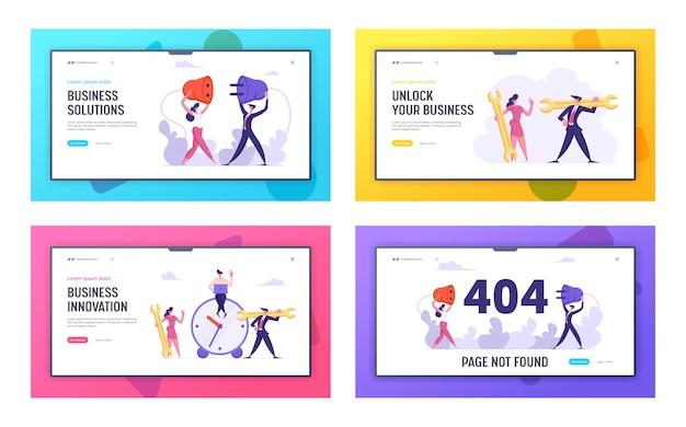 Conjunto de páginas de destino de conceito de erro 404 e inovação empresarial