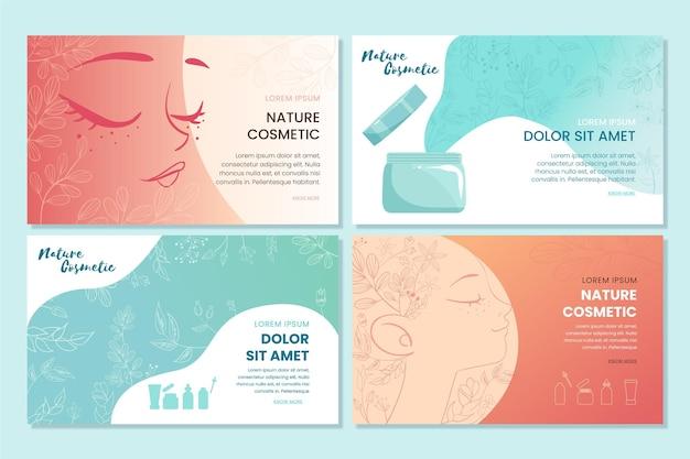 Conjunto de páginas de destino de cosméticos de natureza