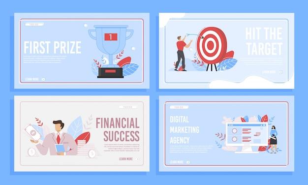 Conjunto de páginas de destino de desenvolvimento de negócios bem-sucedidos