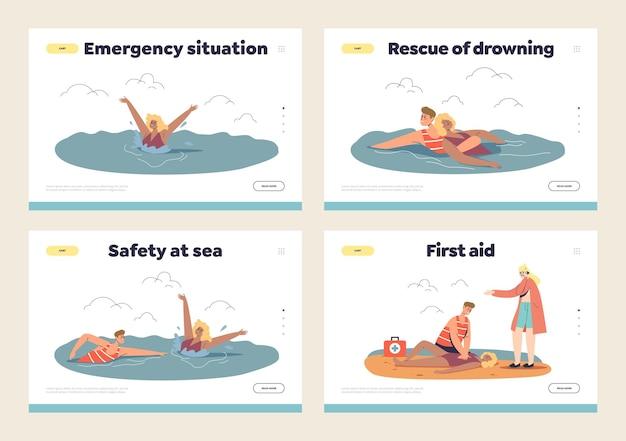 Conjunto de páginas de destino de emergência de praia com salva-vidas e primeiros socorros a uma mulher que está afundando