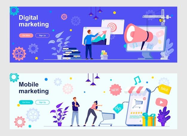 Conjunto de páginas de destino de marketing digital
