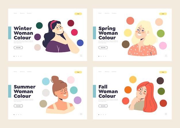 Conjunto de páginas de destino de modelo com paleta das melhores cores para inverno, primavera, verão e outono