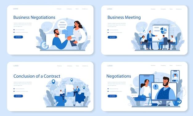 Conjunto de páginas de destino de negociações comerciais