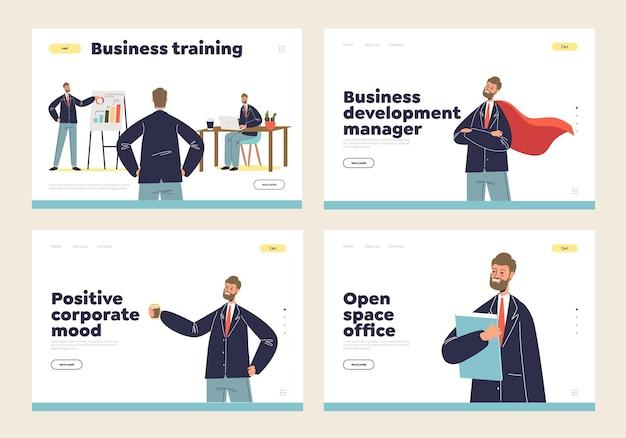Conjunto de páginas de destino de negócios com conceitos de desenvolvimento, treinamento, mentoria, humor corporativo de sucesso e positivo e escritório de espaço aberto e empresário sorridente dos desenhos animados. página de destino