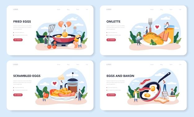 Conjunto de páginas de destino de ovos fritos saborosos para o café da manhã