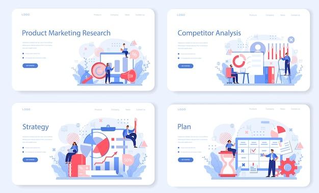 Conjunto de páginas de destino de pesquisa de mercado