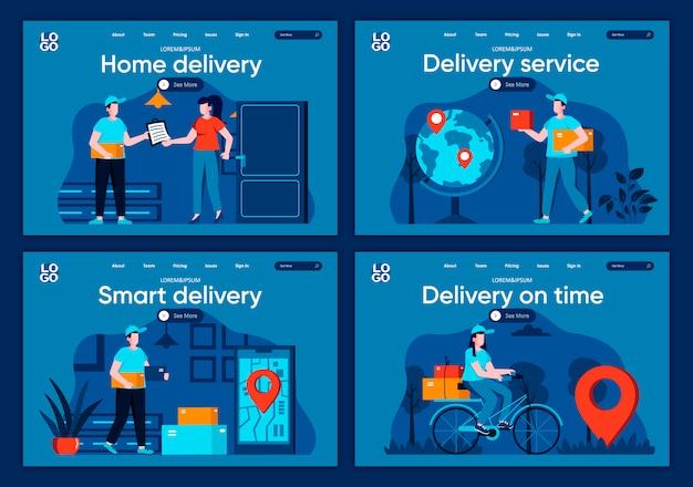 Conjunto de páginas de destino de plano de serviço de entrega. entrega expressa com cenas de correio, distribuição e logística para site ou página cms. entrega em domicílio a tempo, ilustração de serviço inteligente