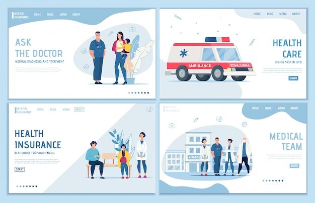 Conjunto de páginas de destino de seguros, suporte e primeiros socorros