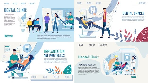 Conjunto de páginas de destino de serviços de saúde de odontologia