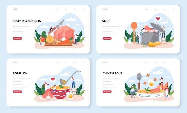 Conjunto de páginas de destino de sopa de galinha