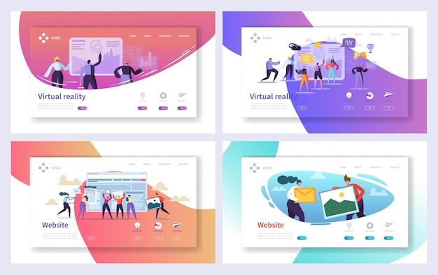 Conjunto de páginas de destino de tecnologia de realidade virtual.
