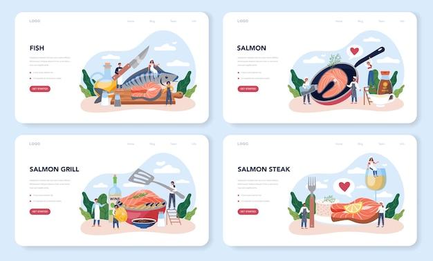 Conjunto de páginas de destino do bife de salmão
