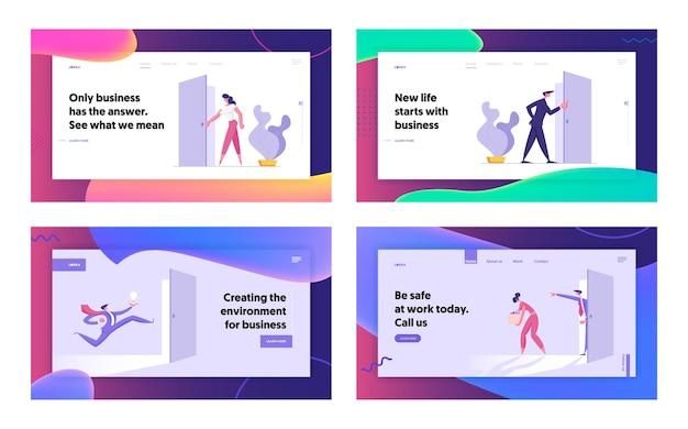 Conjunto de páginas de destino do conceito de site de estilo de vida de escritório para pessoas de negócios