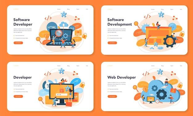 Conjunto de páginas de destino do desenvolvedor de software