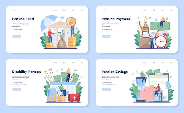 Conjunto de páginas de destino do fundo de pensão
