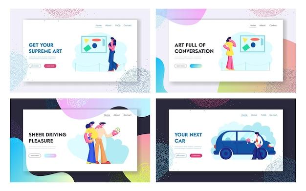 Conjunto de páginas de destino do site de exibição e venda de carros