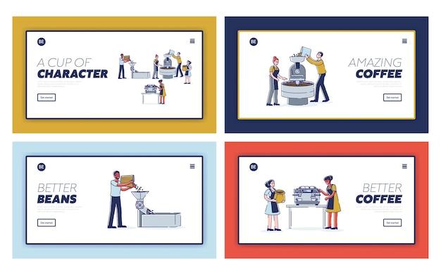 Conjunto de páginas de destino para as etapas de produção de café