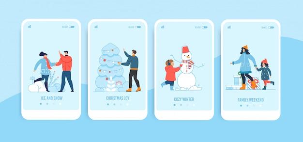 Conjunto de páginas de destino para celular de natal e ano novo