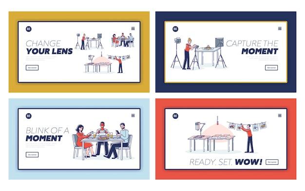 Conjunto de páginas de destino para cursos de fotografia de alimentos ou design de sites com diferentes pessoas tirando fotos de alimentos: fotógrafos profissionais e blogueiros em smartphones e câmeras