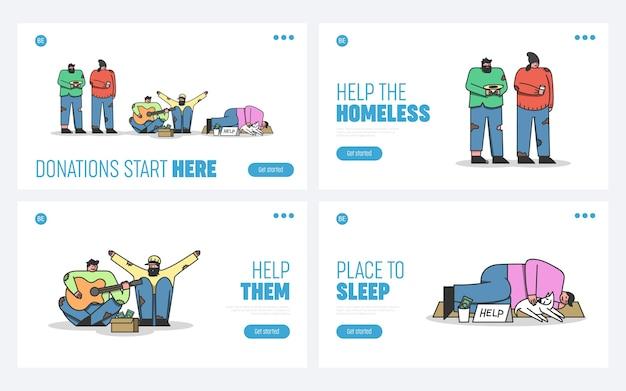 Conjunto de páginas de destino para doação e ajuda de moradores de rua
